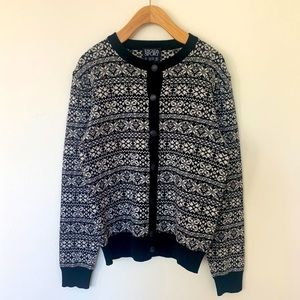 Vintage Escada Sport 100% Wool Snowflake Cardigan